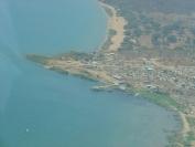Widok z samolotu na port w Nsumbu